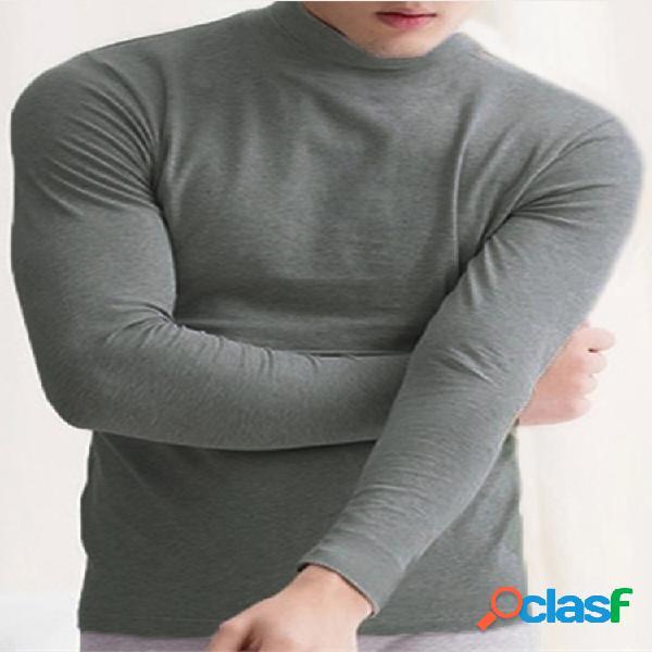 Camiseta masculina slim com gola alta e manga longa de cor sólida