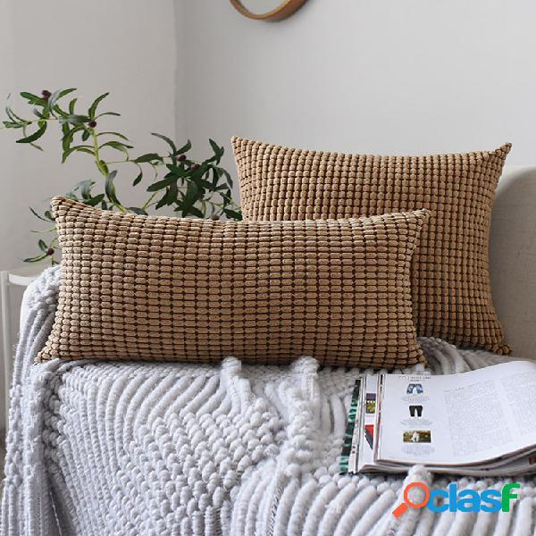 Tecido de veludo cotelê nórdico de cor sólida com grãos de milho fronhas soft capa de almofada para cintura sofá doméstico