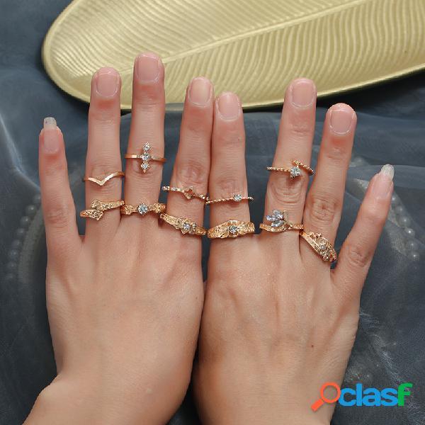 11 pcs vintage geométrica anel de tecido conjunto de jóias de metal anel de diamante étnica jóias
