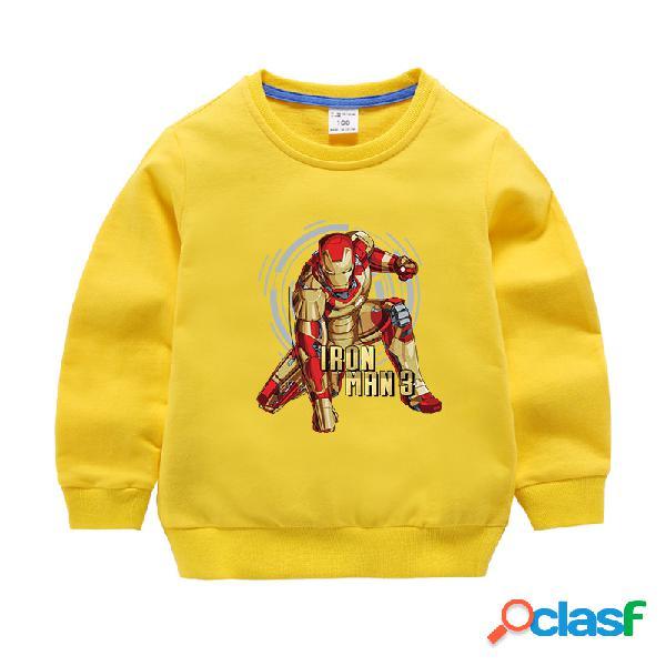 Camisola infantil de algodão com estampa camisa