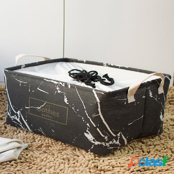 Mármore à prova de poeira grande e grosso acabamento dobrável caixa cesto de armazenamento de roupas de arte em linho de algodão