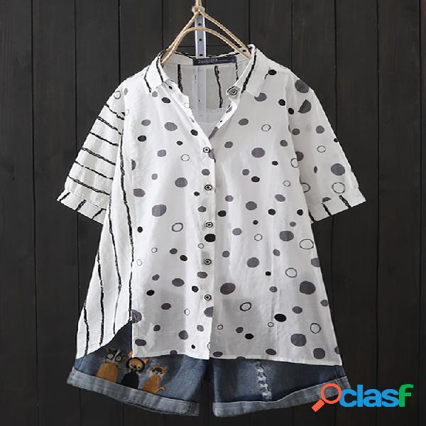 Patchwork listrado de bolinhas plus tamanho camisa