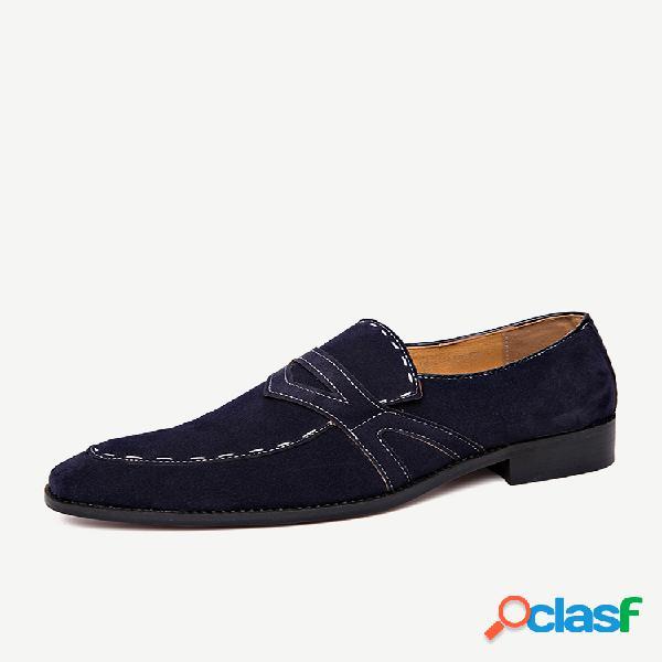 Sapatos formais de camurça com costura à mão antiderrapante tamanho grande