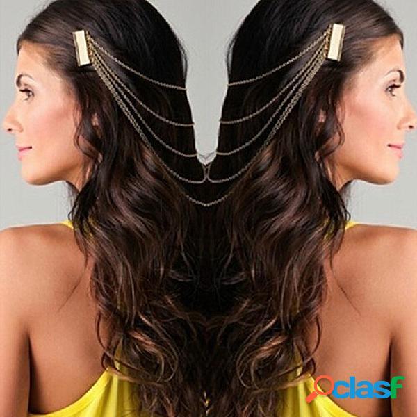 Trendy metal tassel cadeia headwear elegante longo cadeia cabelo comb cabelo acessórios