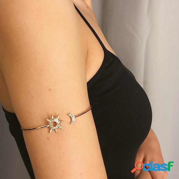 Vintage geométrica zircão pulseira ajustável rhinestone sun moon multi-funcional pulseira
