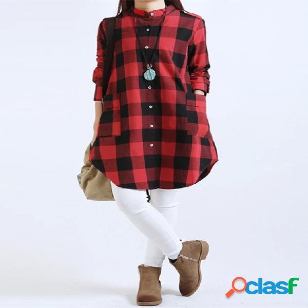 Blusa de xadrez escocê de algodão com mnga longa e bolsos