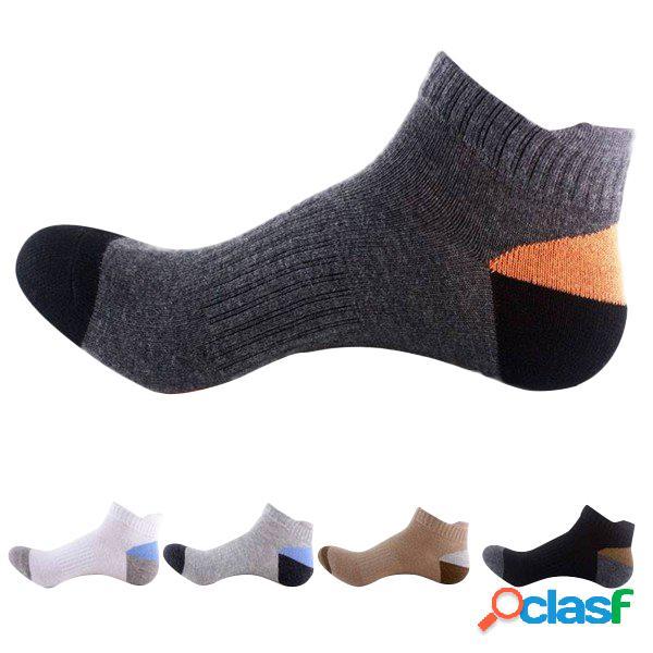 Meias de basquete de esportes de algodão respirável masculino cores patchwork curto-tubo meias