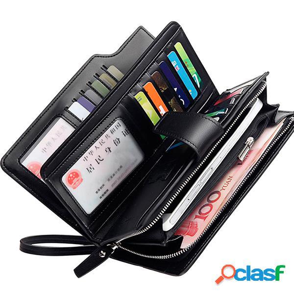 Carteira masculina com 21 portas para cartões carteira negócia de couro pu com saco para moeda e telefone