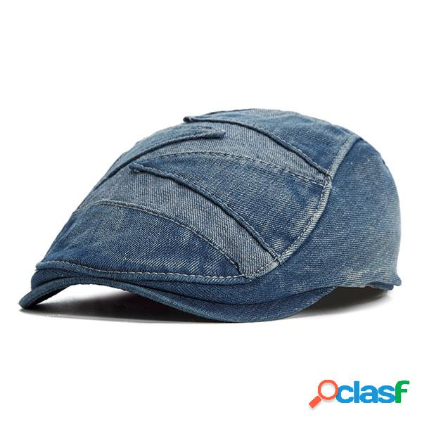 Chapéu vintage de denim chapéu de cowboy chapéu de estilo beret adjustável para homens