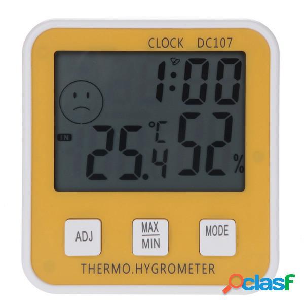 Grande digital lcd temperatura interior medidor de umidade termômetro higrômetro relógio