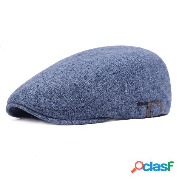 Mens vintage de linho cor sólida beret caps casual jornaleiro de viagens para a frente chapéu gorras