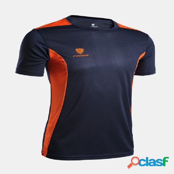 Camiseta esportiva casual masculina de secagem rápida e respirável com decote em o de manga curta