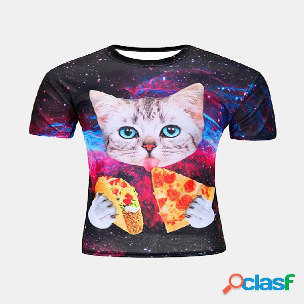 Camiseta personalizada masculina gato estampado secagem rápida