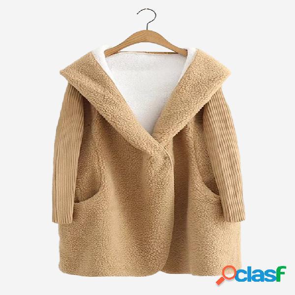 Casual pure color hooded patchwork de manga comprida casacos de peles femininas