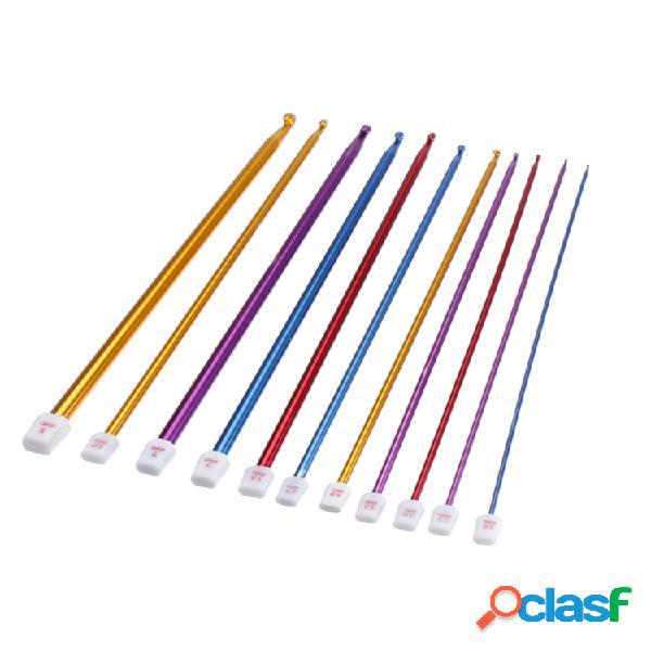 11 unidades de alumínio crochê ganchos de chumbo colorful kit de artesanato com agulha de tricô faça você mesmo