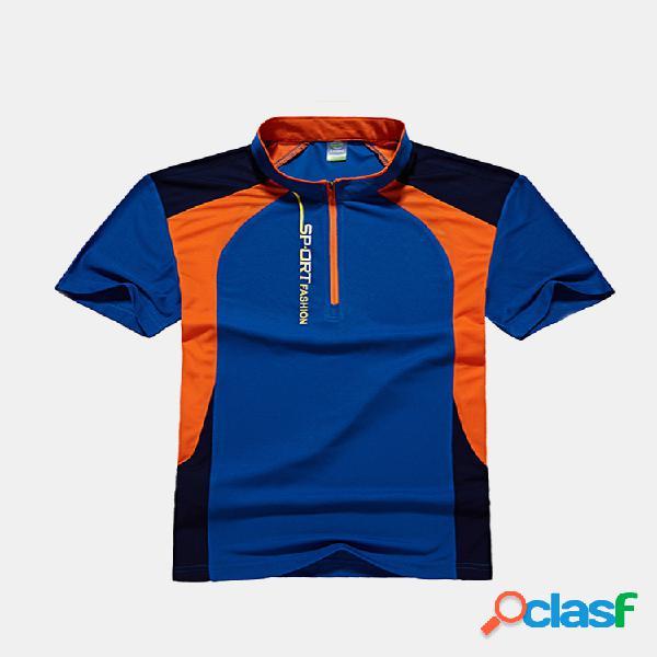 Mens verão exterior secagem rápida respirável manga curta esporte casual t-shirt