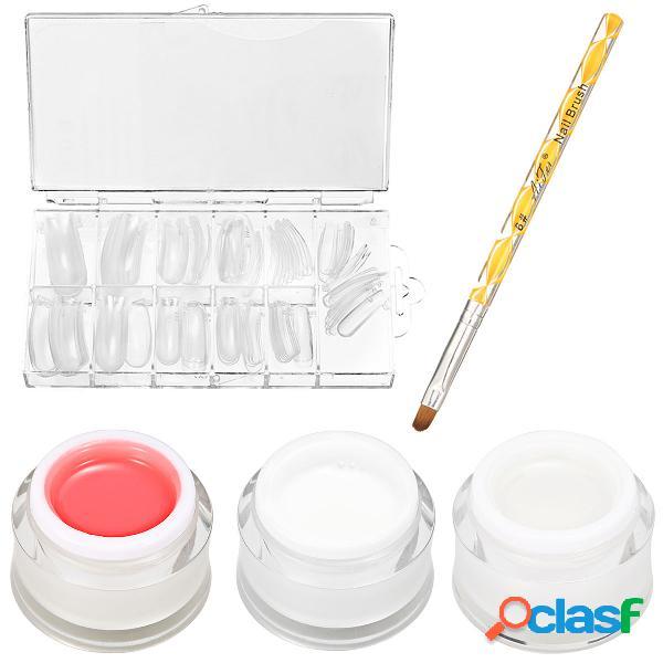 15ml gel de uñas extensão de construção rápida escova de gel uv com 100 pieces falso kit de dicas