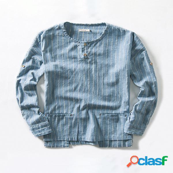 Mens estilo chinês listras de linho de algodão respirável manga longa camiseta casual