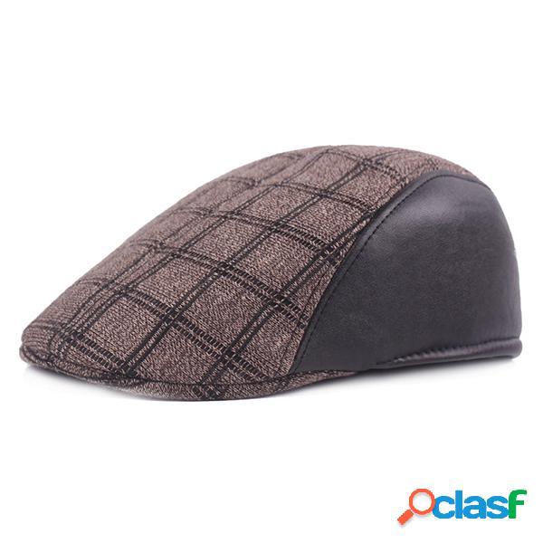 Mens gird algodão patchwork beret cap retro para a frente chapéu sunshade windproof gorras repicado ajustável