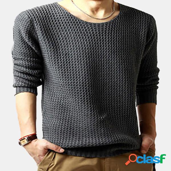 Suéter casual tricotado cor sólida gola redonda manga longa ajuste fino