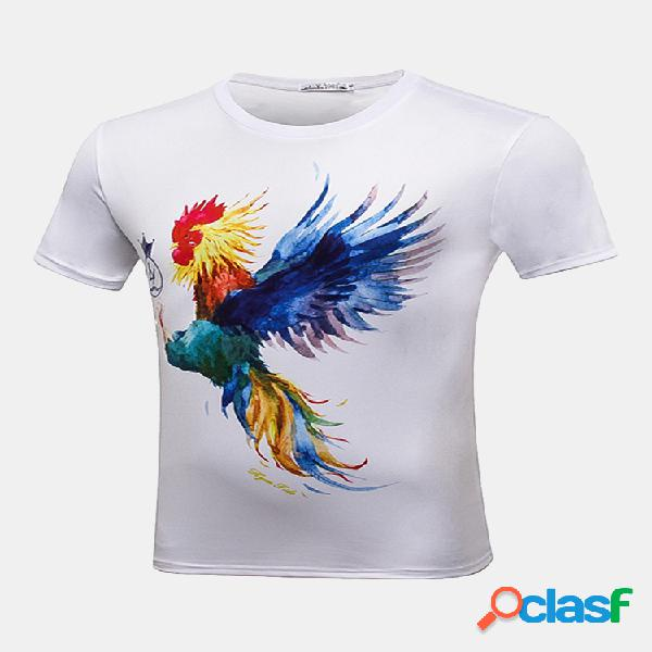Mens moda 3d impresso manga curta galo o-neck algodão casual t-shirt