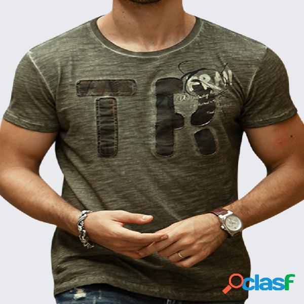 Mens verão carta impressa algodão respirável o-pescoço manga curta casual t-shirt
