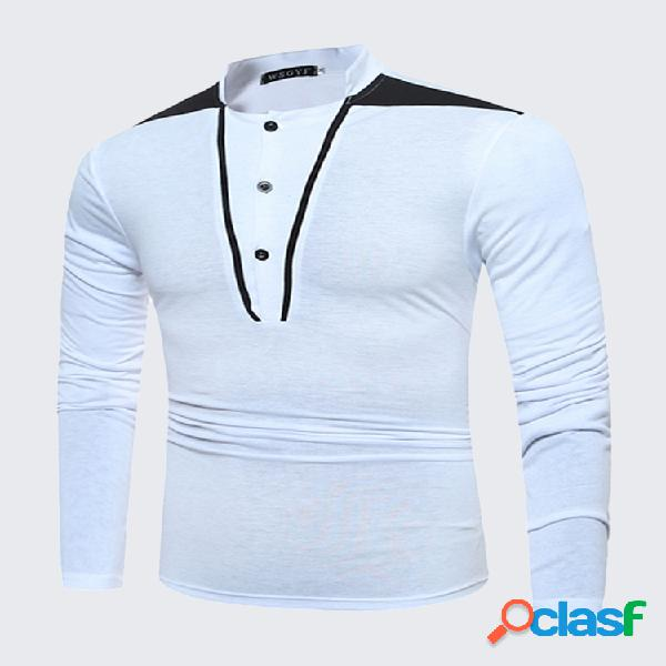 Mens moda patchwork botão manga longa gola algodão casual t-shirt