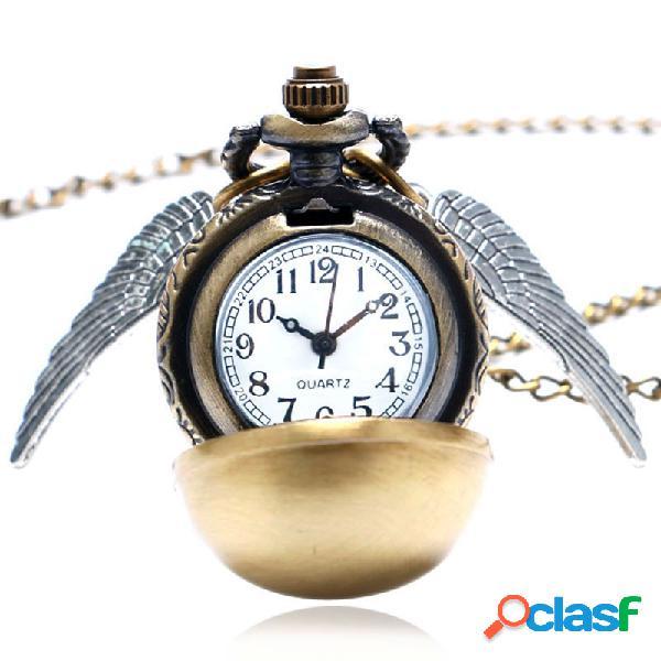 Relógio de bolso material de quartzo modelo steampunk asa dourada