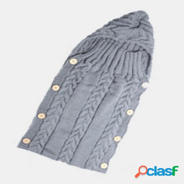 70 * 35cm bebê recém-nascido dormindo bolsa inverno quente lã malha capuz soft cobertor infantil