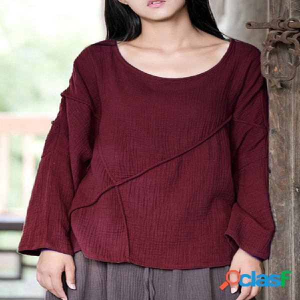 Casual pure color o-neck patchwork loose long sleeve women blusas