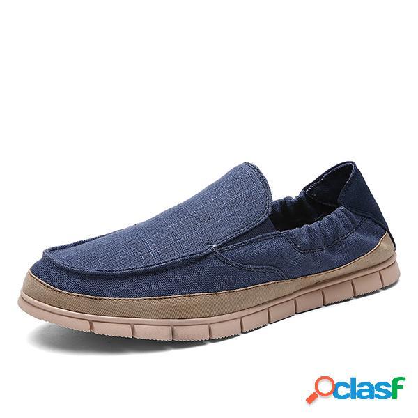 Men linen respirável soft sole light deslizamento portátil em casual doug shoes