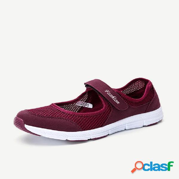 Esportes femininos soft malha respirável gancho calçados casuais de loop