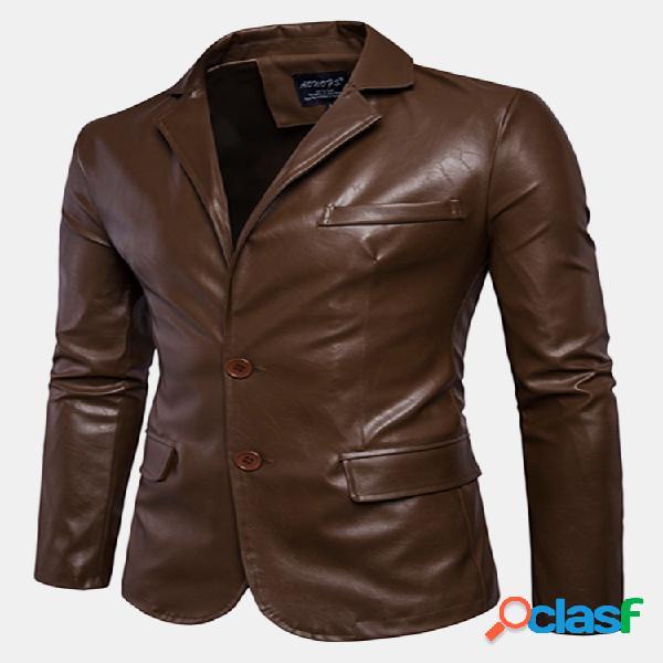 Jaqueta masculina couro falso sintético cor sólida para ciclista