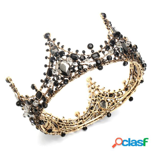 Luxo broca cristal princesa quinceanera retro tiara diamante nupcial coroas de casamento cabelo jóias