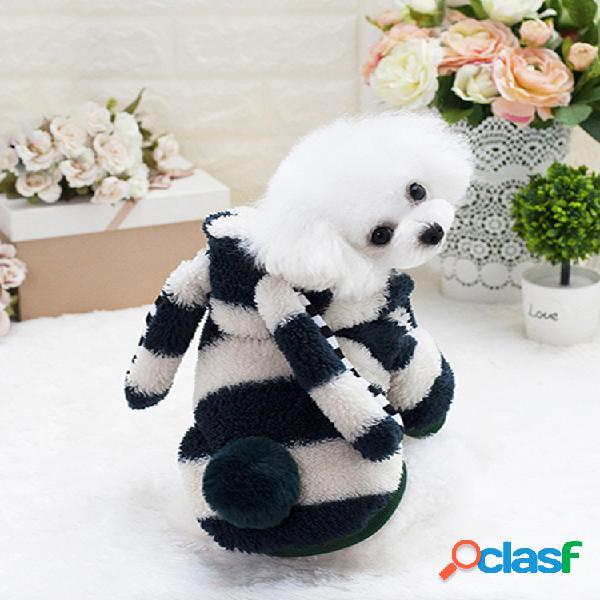 Pet cachorro roupas pet filhote de cachorro gato casaco quente coelho orelhas grandes cachorro roupa de flanela
