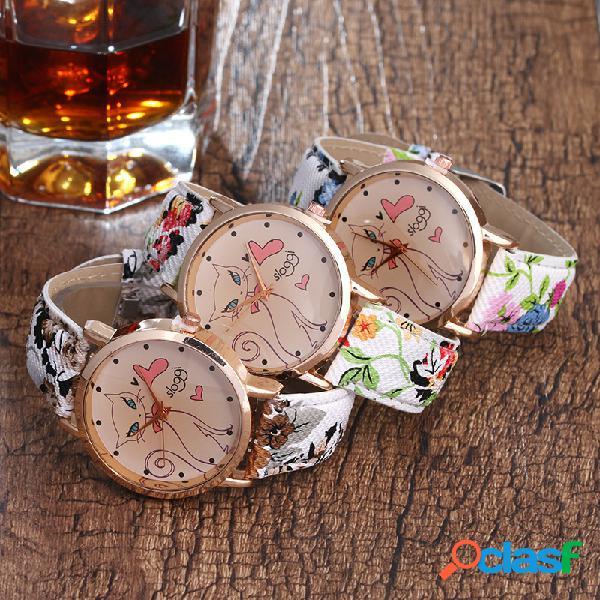 Relógio de quartzo pulseira de couro modelo de coruja flor
