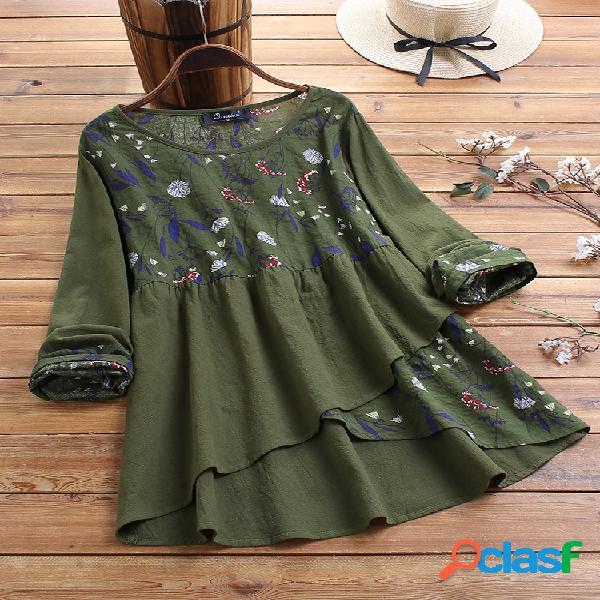 Patchwork estampado floral irregular tamanho plus blusa vintage