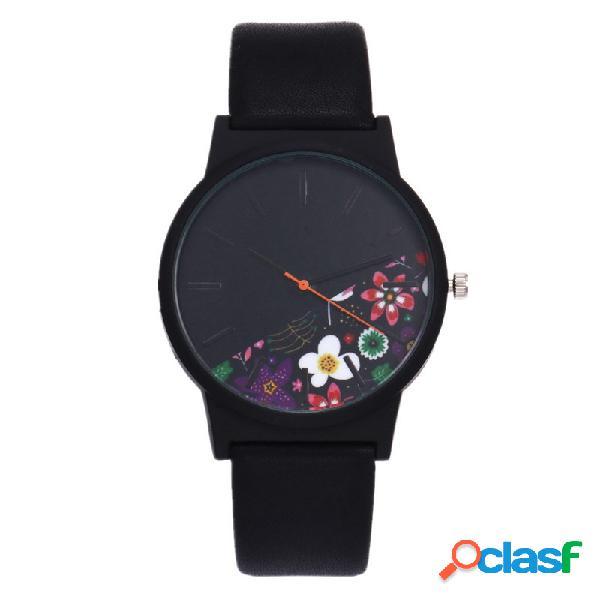Relógio casual de quartzo modelo floral pulseira de couro