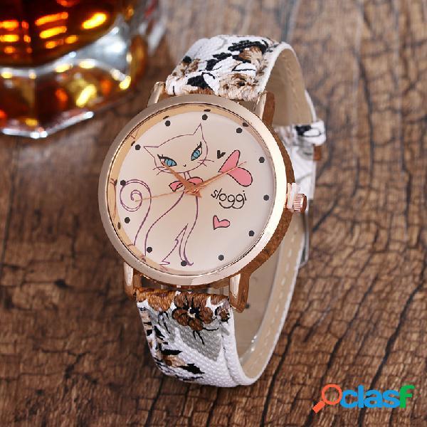 Relógio de quartzo retro modelo de gato flor pulseira de pu couro
