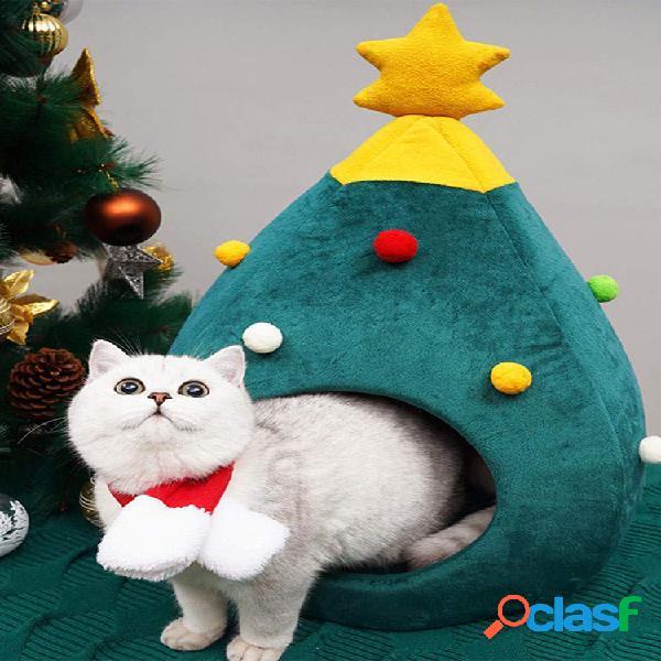 Árvore de natal canil de maca de gato inverno quente ninho de animais de estimação casa de gato de inverno animais de estimação cama