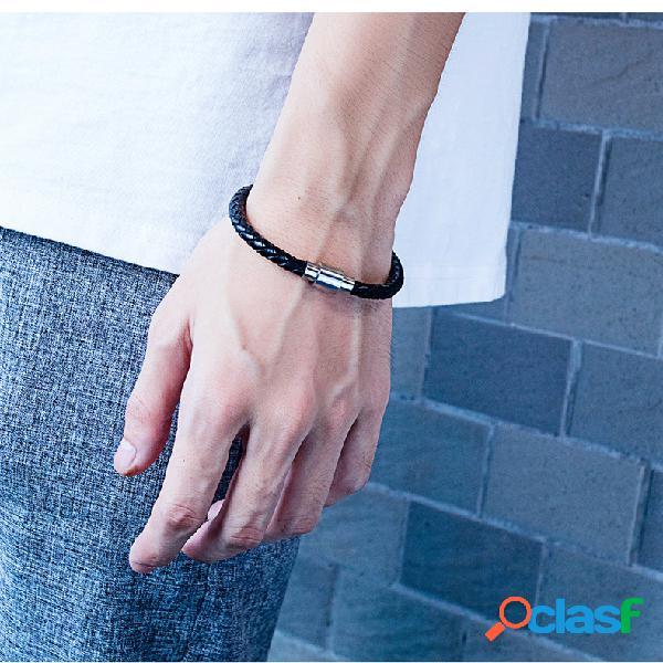 Bracelete masculino moderno em aço de titânio pulseira de couro tricotada à mão jóias punk