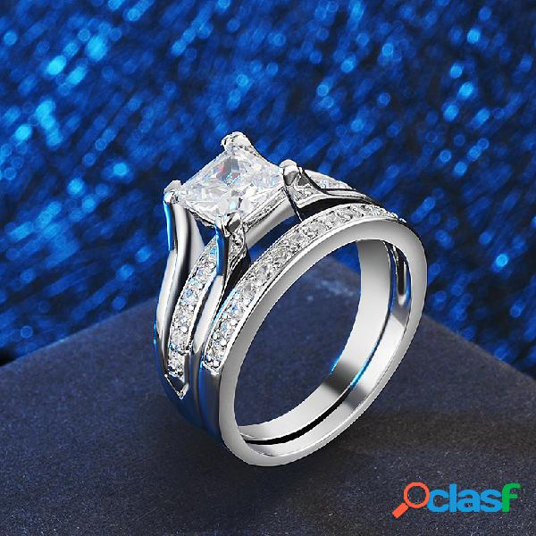 Luxo geométrico quadrado diamante casal anéis anéis de zircão de alta qualidade jóias chiques