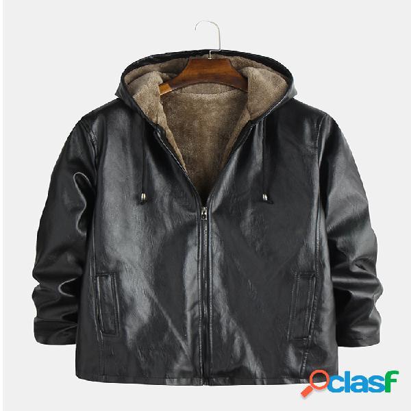 Mens jaquetas de couro da motocicleta forrado quente engrossar casacos com capuz