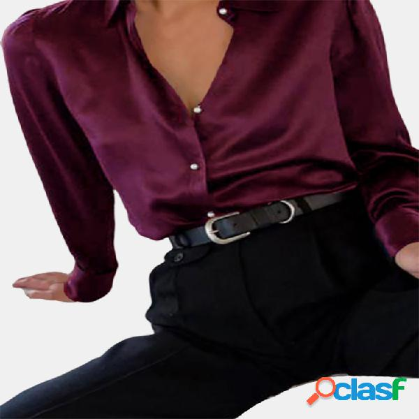 Cetim pearl button manga longa plus tamanho camisa
