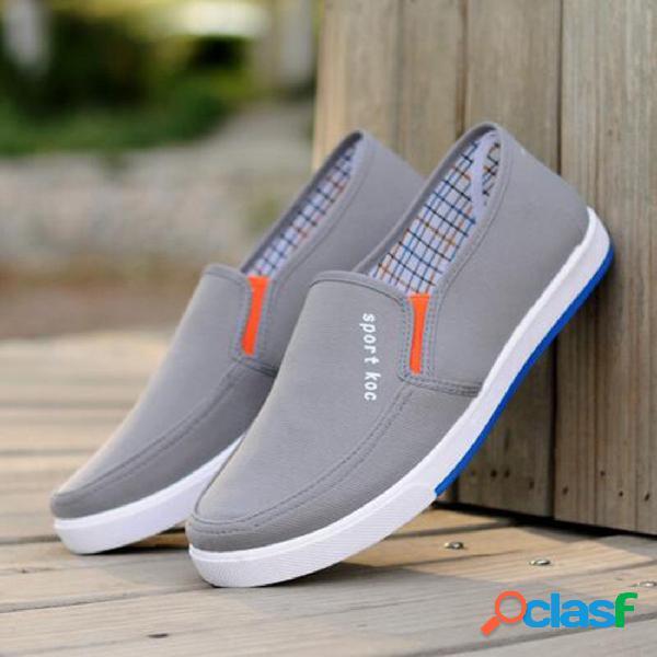 Homens respirável lona conforto soft deslizamento em sapatos casuais