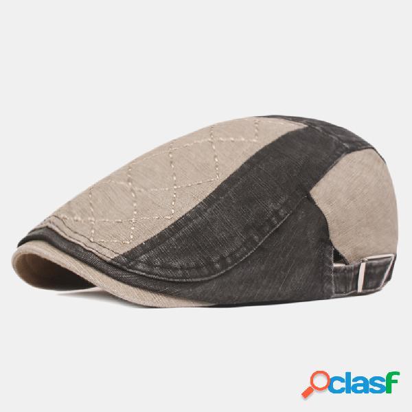Mens algodão patchwork cors beret caps esporte ao ar livre viseira ajustável para a frente chapéus