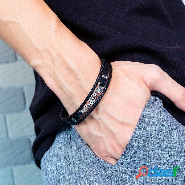 Símbolo da música oca geométrica do vintage pingente pulseira masculina pulseira de couro tecido multicamada