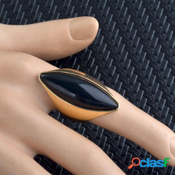 Anéis de dedo de rubi transparentes de metal vintage olhos de gato geométricos anéis de gema preta
