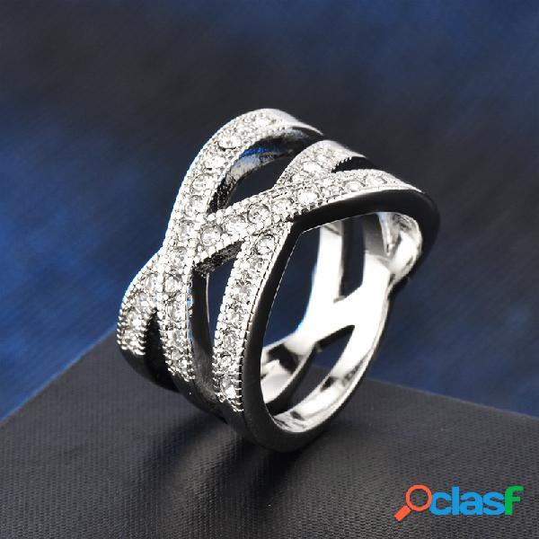 Anéis de diamante a céu aberto do vintage anéis de dedo de strass irregulares geométricos de metal jóias chiques