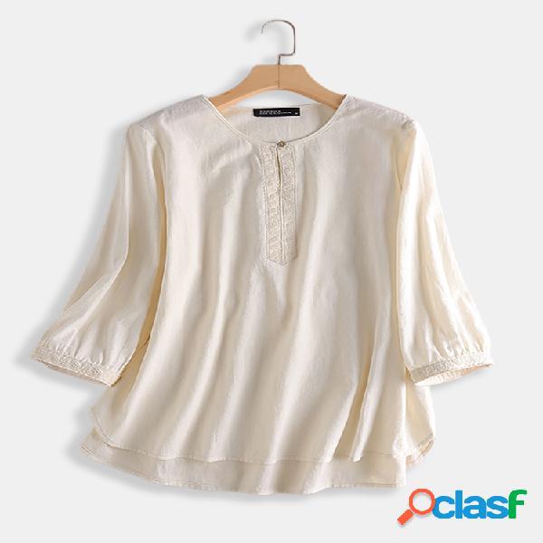 Blusa bordado manga 3/4 cor sólida tamanho plus